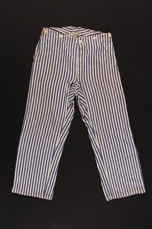 2009.396.2 front Blue striped pajama pants worn during hospital stays by soldiers serving in the German military