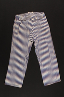 2009.396.2 back Blue striped pajama pants worn during hospital stays by soldiers serving in the German military  Click to enlarge