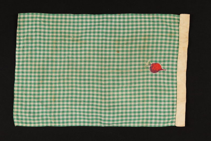 2010.194.5 front Dish towel with red radish applique brought to the US by a young Austrian Jewish refugee