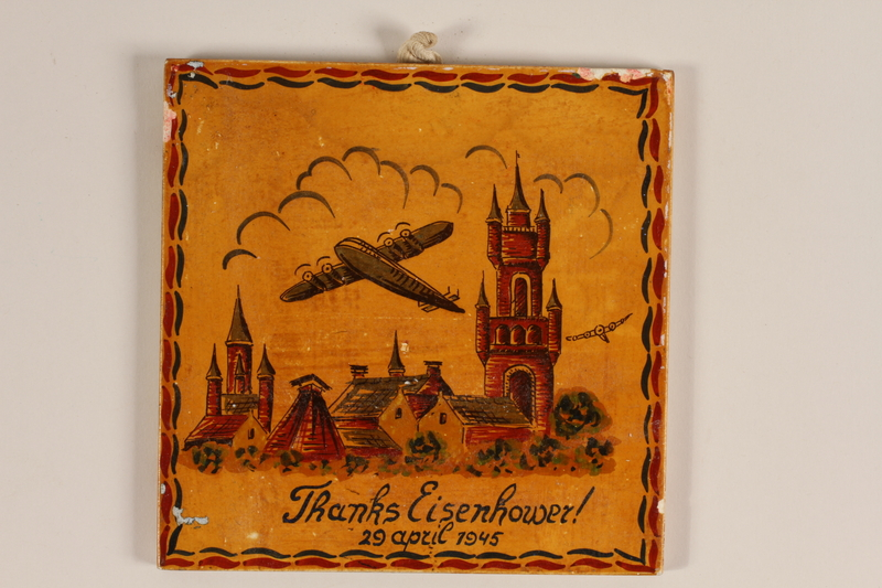 """2006.400.2 front Commemorative ceramic tile with the message """"Thanks Eisenhower"""""""