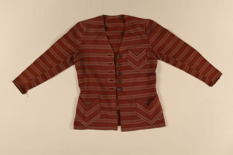 2008.228.2 front Striped wool jacket used in the Warsaw ghetto