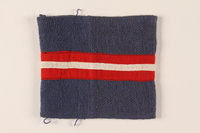 2011.68.1 front Blue armband with red and white stripe worn by Danish resistance fighter  Click to enlarge