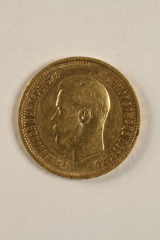 2010.416.2 front Imperial Russia, gold 10 ruble coin saved by a Jewish Polish family living in hiding with partisans