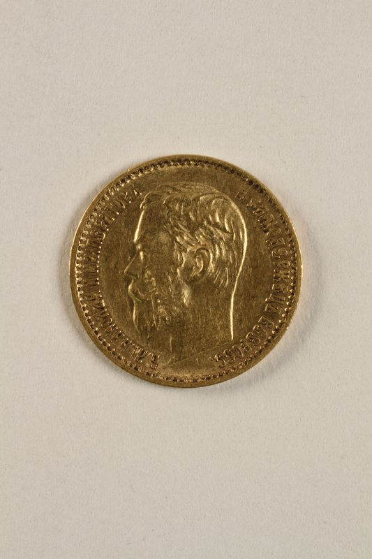 2010.416.3 front Imperial Russia, gold 5 ruble coin saved by a Jewish Polish family living with partisans