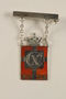 Kingmark silver and red enamel pin with chains on a pinbar commemorating the 75th birthday in 1945 of King Christian X of Denmark