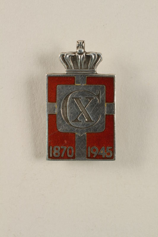 2010.417.6 font Kingmark silver and red enamel tension pin commemorating the 75th birthday in 1945 of King Christian X of Denmark