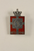 2010.417.6 font Kingmark silver and red enamel tension pin commemorating the 75th birthday in 1945 of King Christian X of Denmark  Click to enlarge