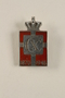 Kingmark silver and red enamel tension pin commemorating the 75th birthday in 1945 of King Christian X of Denmark