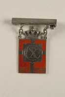 2010.417.7 front Kingmark silver and red enamel pin with chains on a pinbar commemorating the 70th birthday in 1940 of King Christian X of Denmark  Click to enlarge