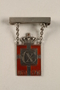 Kingmark silver and red enamel pin with chains on a pinbar commemorating the 70th birthday in 1940 of King Christian X of Denmark