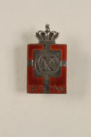 2010.417.9 front Kingmark silver and red enamel pin with a buttonhole back commemorating the 70th birthday in 1940 of King Christian X of Denmark  Click to enlarge