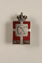 Kingmark silver and red enamel spring tension pin commemorating the 70th birthday in 1940 of King Christian X of Denmark