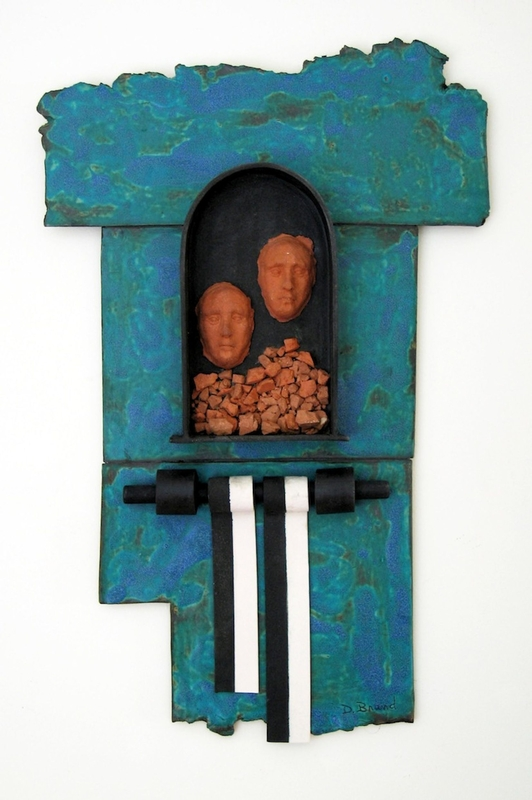2009.400.5 front Mixed media wall sculpture by Daisy Brand mourning the cremation of her father at Auschwitz
