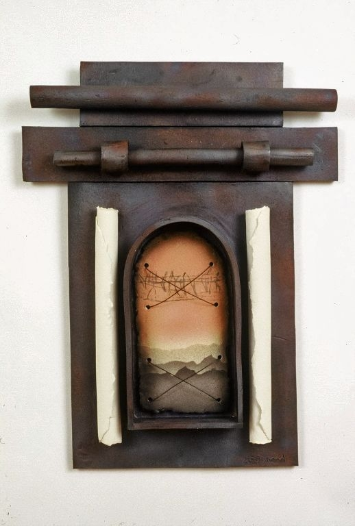 2009.400.9 front Mixed media wall sculpture by Daisy Brand evoking cherished memories of the her childhood