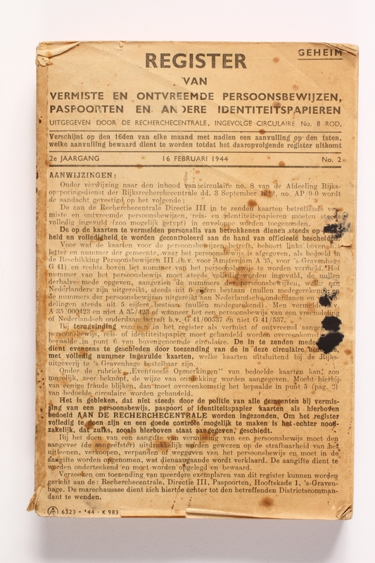 2010.441.14 front Account book used by a Dutch resistance member to forge identity cards
