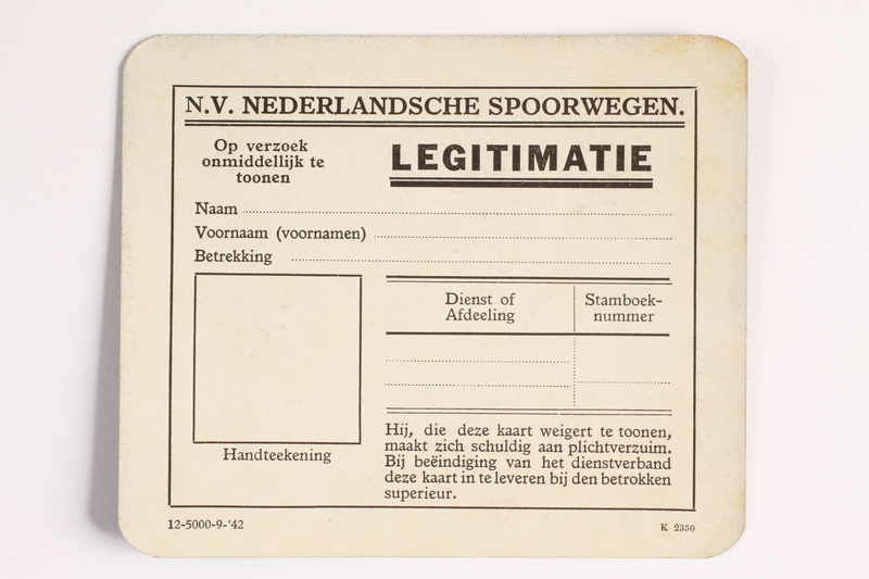 2010.441.17 front Unused identification card for use by a Dutch resistance member to forge identity cards