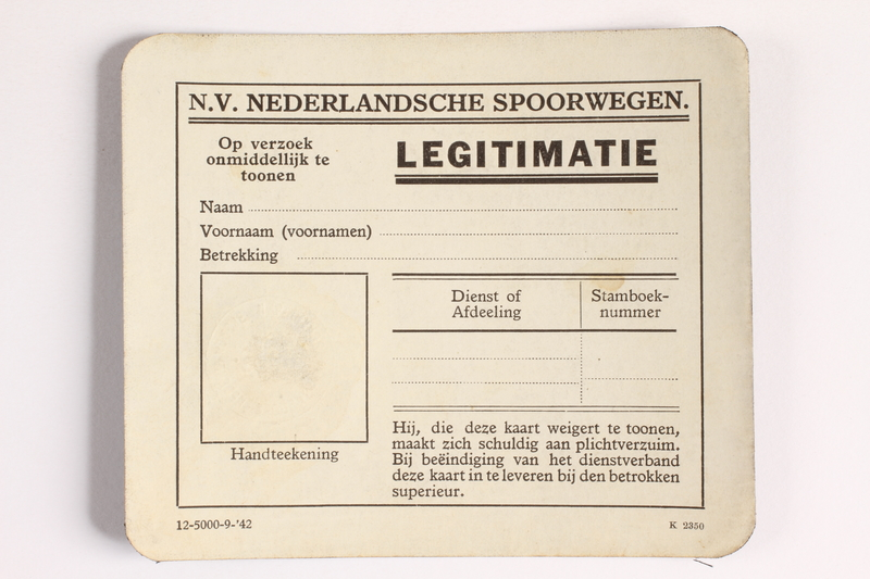2010.441.18 front Unused identification card for use by a Dutch resistance member to forge identity cards