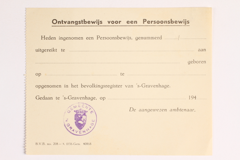 2010.441.19 front Blank sheet of paper for use by a Dutch resistance member to forge identity cards