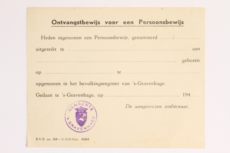 2010.441.20 front Blank sheet of paper for use by a Dutch resistance member to forge identity cards