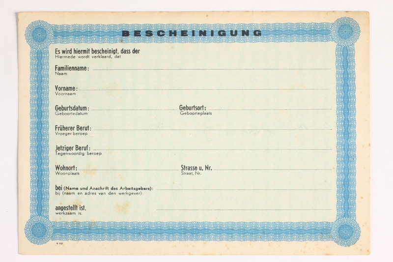 2010.441.22 front Unused identification card for use by a Dutch resistance member to forge identity cards