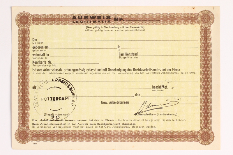 2010.441.23 front Unused identification card for use by a Dutch resistance member to forge identity cards