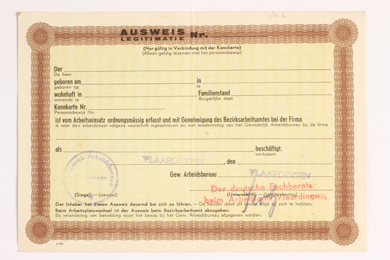 2010.441.25 front Unused identification card for use by a Dutch resistance member to forge identity cards