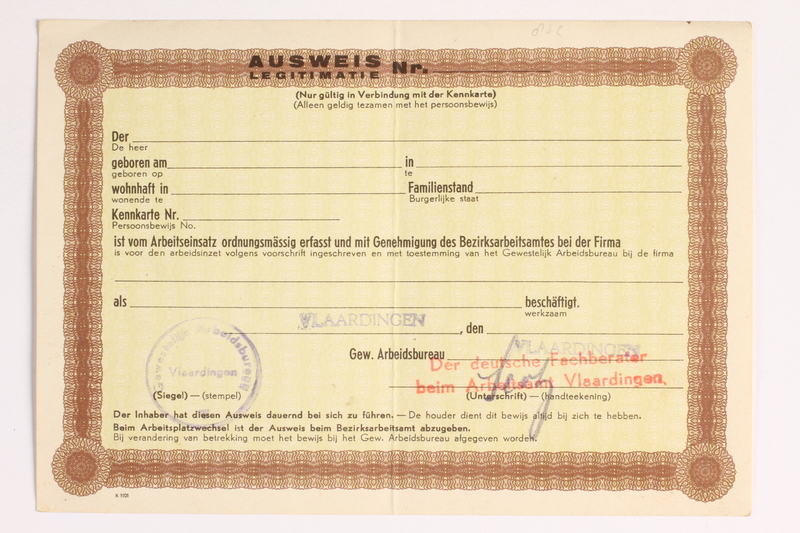 2010.441.26 front Unused identification card for use by a Dutch resistance member to forge identity cards
