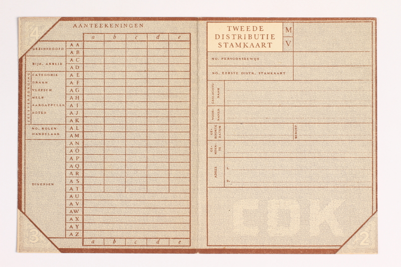 2010.441.27 front Unused identification card for use by a Dutch resistance member to forge identity cards