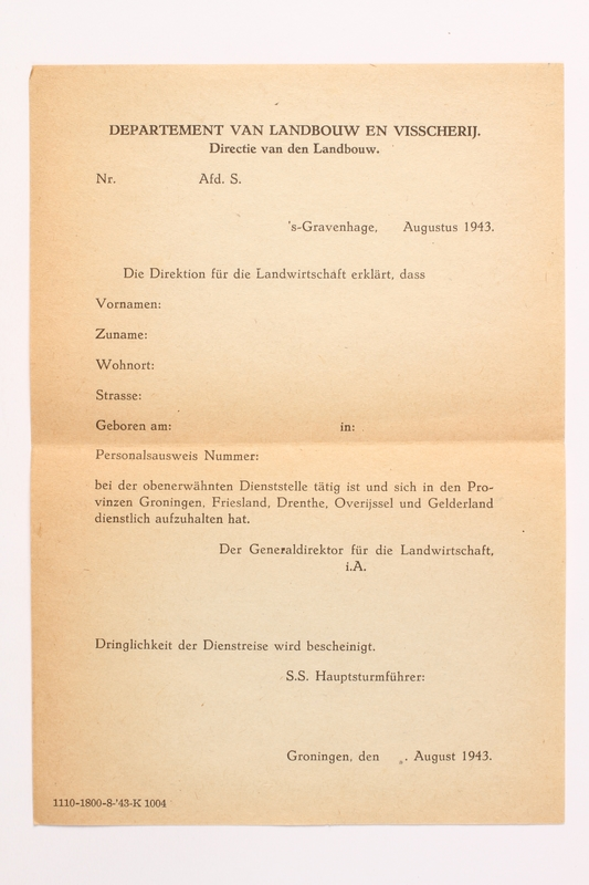 2010.441.29 front Blank sheet of paper for use by a Dutch resistance member to forge identity cards