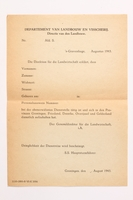 2010.441.29 front Blank sheet of paper for use by a Dutch resistance member to forge identity cards  Click to enlarge