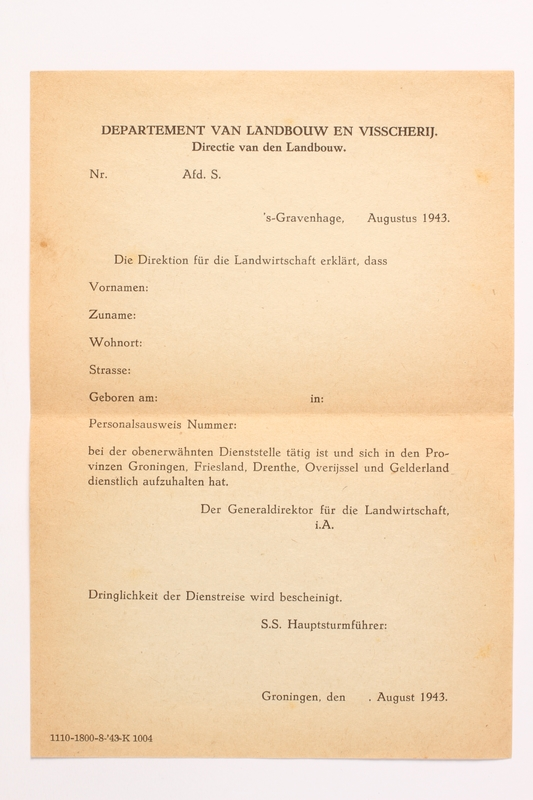 2010.441.30 front Blank sheet of paper for use by a Dutch resistance member to forge identity cards