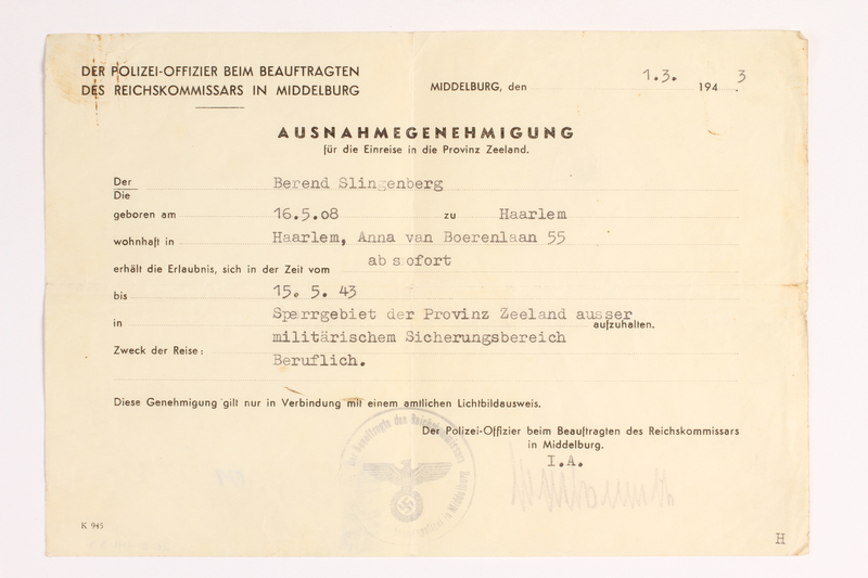 2010.441.33 front Blank sheet of paper for use by a Dutch resistance member to forge identity cards