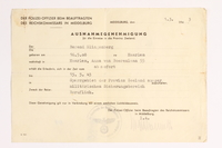2010.441.33 front Blank sheet of paper for use by a Dutch resistance member to forge identity cards  Click to enlarge