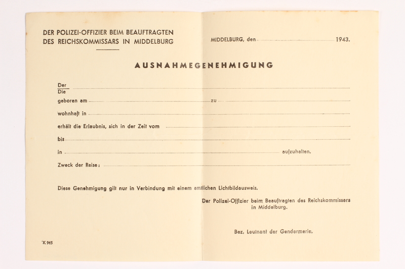 2010.441.34 front Blank sheet of paper for use by a Dutch resistance member to forge identity cards