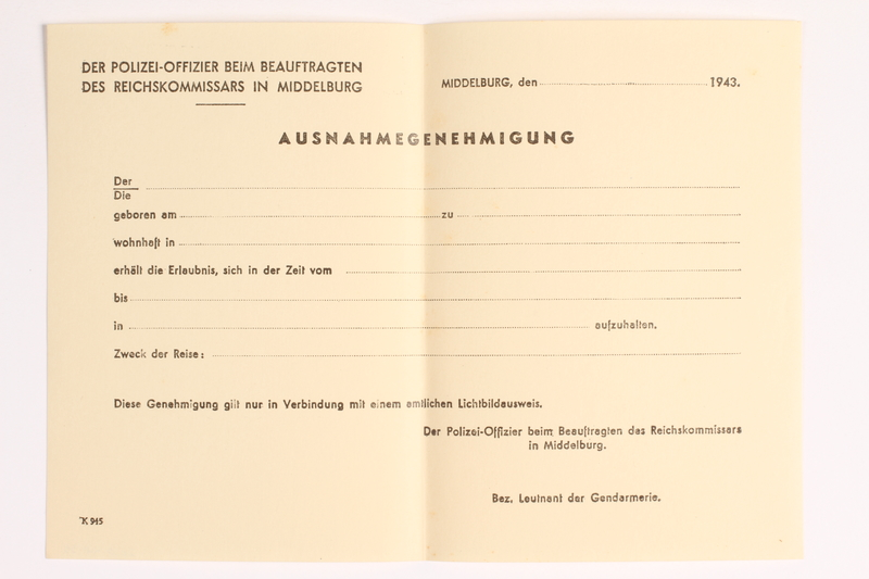 2010.441.35 front Blank sheet of paper for use by a Dutch resistance member to forge identity cards