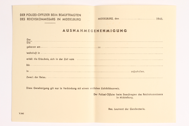 2010.441.36 front Blank sheet of paper for use by a Dutch resistance member to forge identity cards