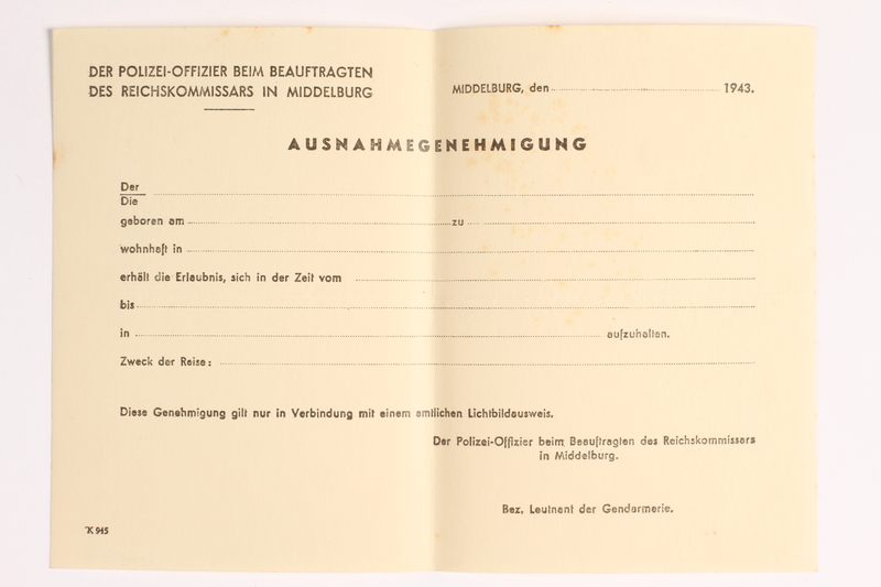 2010.441.38 front Blank sheet of paper for use by a Dutch resistance member to forge identity cards