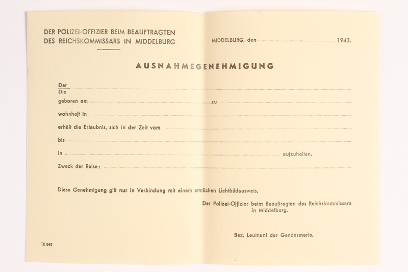 2010.441.40 front Blank sheet of paper for use by a Dutch resistance member to forge identity cards