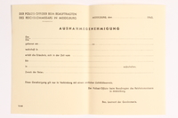 2010.441.40 front Blank sheet of paper for use by a Dutch resistance member to forge identity cards  Click to enlarge
