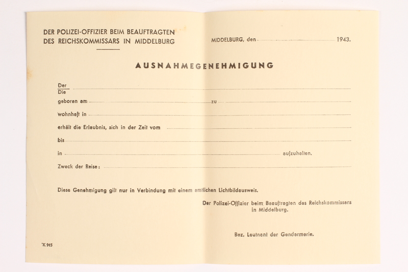 2010.441.41 front Blank sheet of paper for use by a Dutch resistance member to forge identity cards