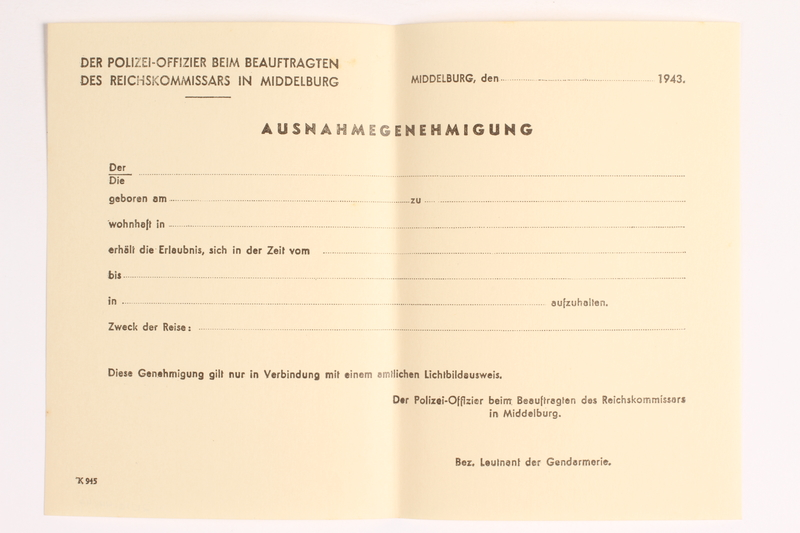 2010.441.42 front Blank sheet of paper for use by a Dutch resistance member to forge identity cards