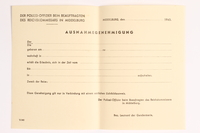 2010.441.42 front Blank sheet of paper for use by a Dutch resistance member to forge identity cards  Click to enlarge