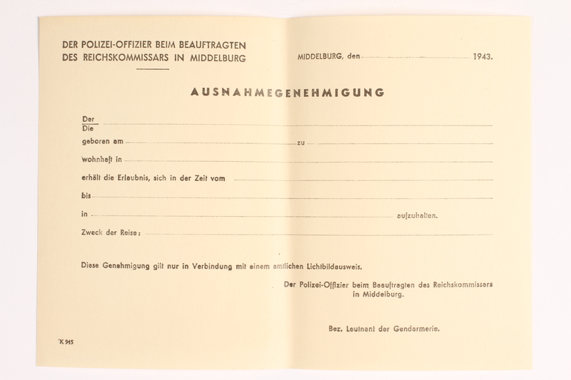 2010.441.44 front Blank sheet of paper for use by a Dutch resistance member to forge identity cards