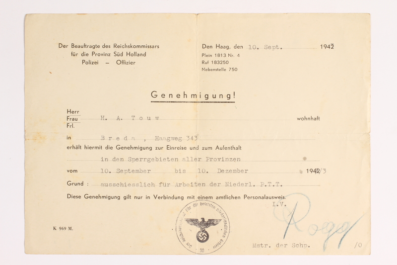 2010.441.45 front Blank sheet of paper for use by a Dutch resistance member to forge identity cards