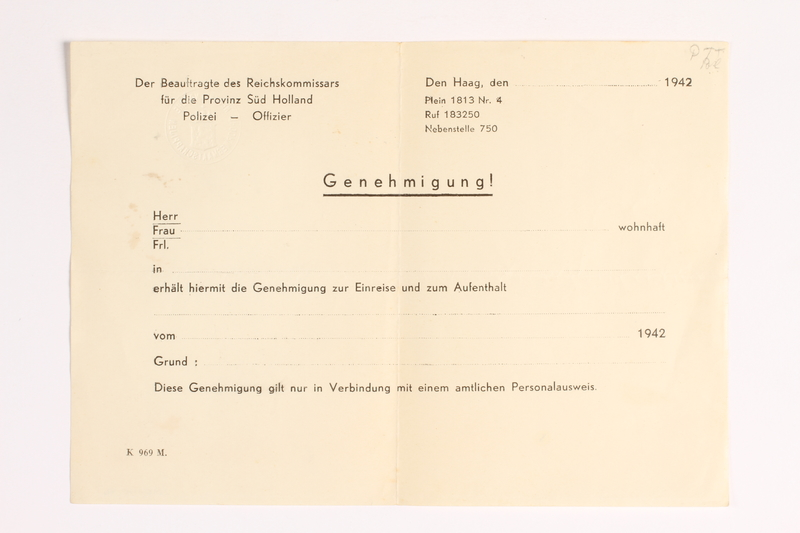 2010.441.46 front Blank sheet of paper for use by a Dutch resistance member to forge identity cards