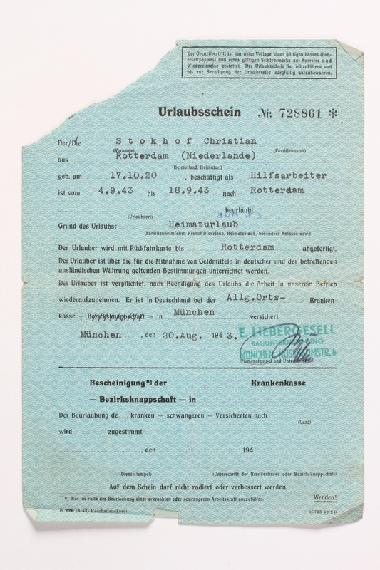 2010.441.68 front Blank sheet of paper for use by a Dutch resistance member to forge identity cards