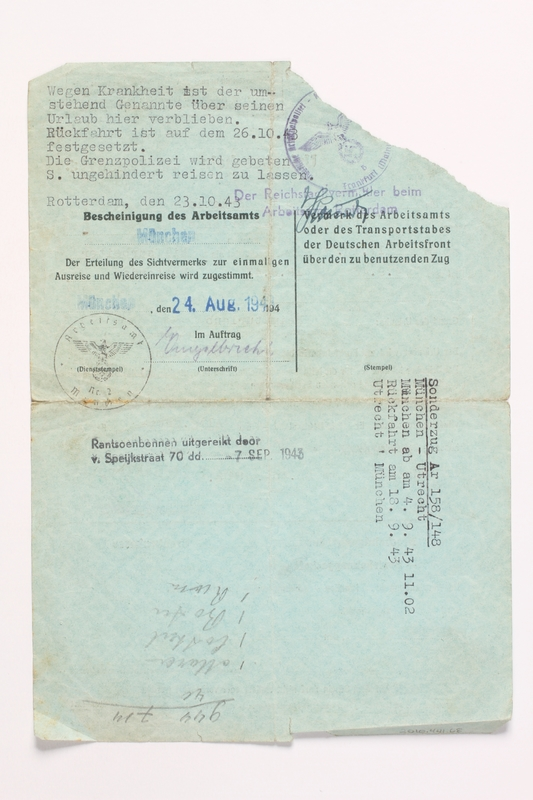 2010.441.68 back Blank sheet of paper for use by a Dutch resistance member to forge identity cards