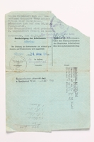 2010.441.68 back Blank sheet of paper for use by a Dutch resistance member to forge identity cards  Click to enlarge