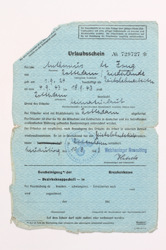 2010.441.69 front Blank sheet of paper for use by a Dutch resistance member to forge identity cards