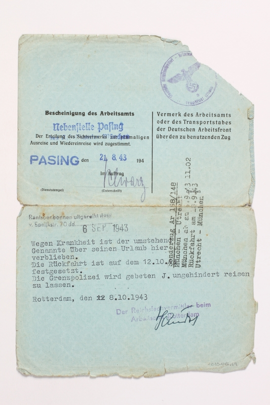 2010.441.69 back Blank sheet of paper for use by a Dutch resistance member to forge identity cards